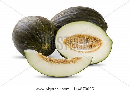 Some Melons Over A White Background.