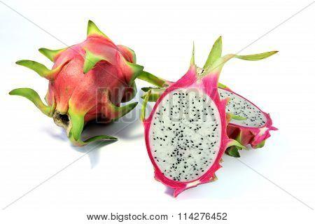 Dragon Fruit on white background.