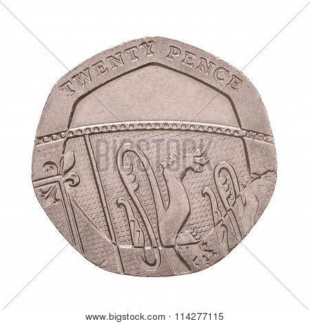 Twenty Pence coin isolated