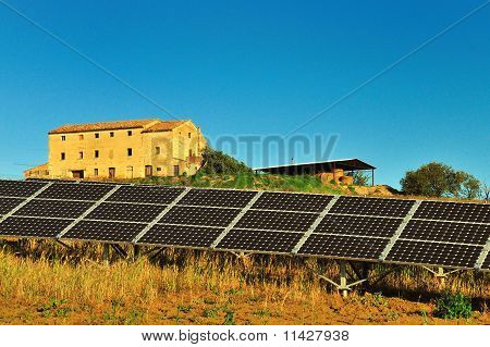 Old farm and solar panel