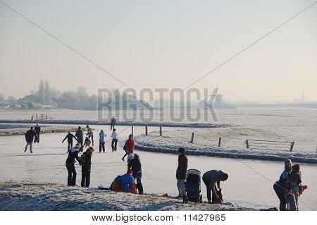 Frozen Canals In Holland. Dutch Winter Landscape