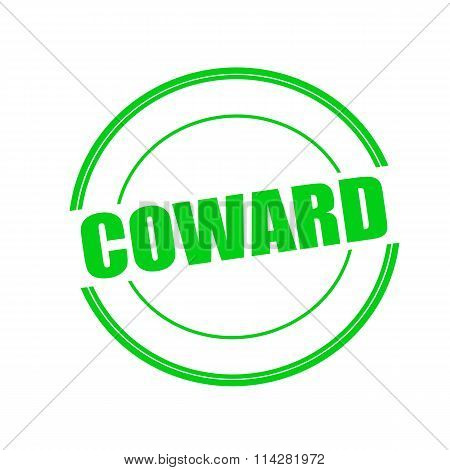 Coward green stamp text on circle on white background poster