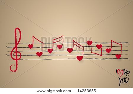 Sheet Music With Heart Shaped Musical Notes