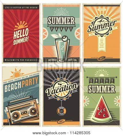 Set of retro summer holiday posters