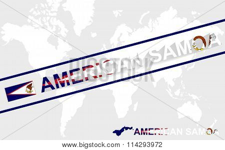 American Samoa Map Flag And Text Illustration