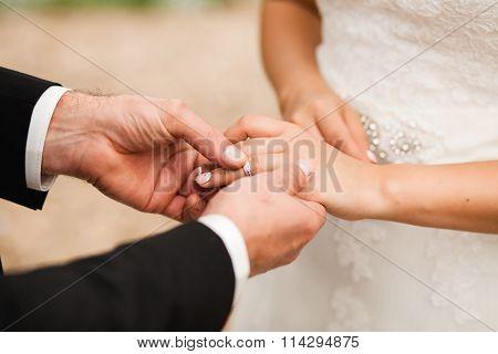 Groom put on wedding ring