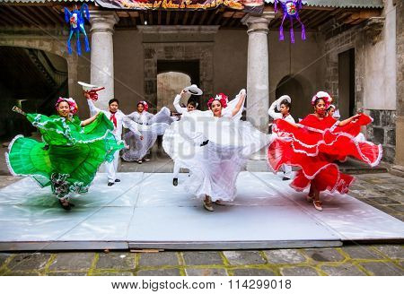 MEXICO CITY, MEXICO-DEC 6, 2015: Mexican folkloric ballet performs in Cultural Centre Zacatecas, Mexico City, on Dec 6. 2015.
