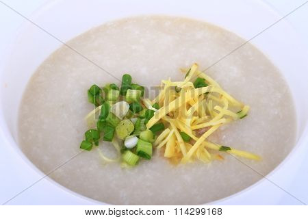 Thai rice porridge with pork, rice gruel.