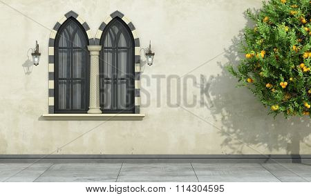 Old Facade With Mullioned Gothic Window