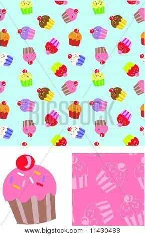 Cute Cupcake Seamless Vector