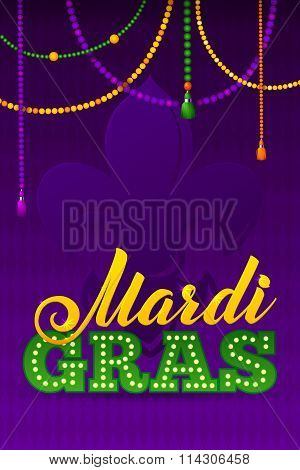 Mardi Gras Party Poster.calligraphy And Typography Card. Beads T
