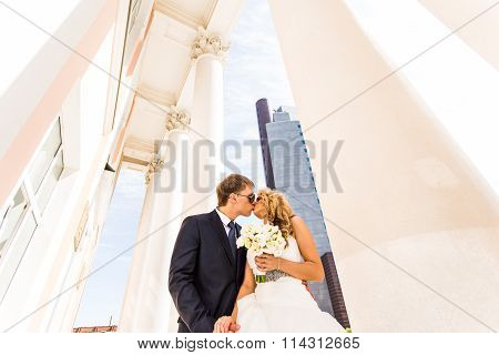 Wedding couple  and skyscraper