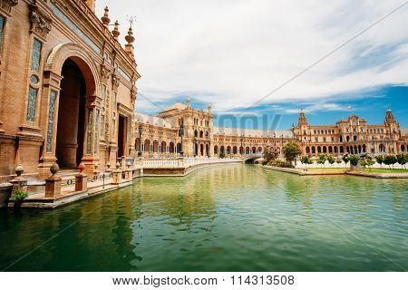 Famous landmark - Plaza de Espana in Seville, Andalusia, Spain
