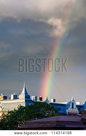 Amazing Rainbow over the City of Gothenburg, Sweden Close-up