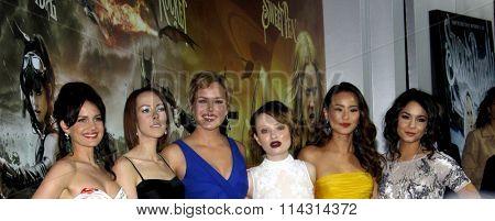 Carla Gugino, Jena Malone, Abbie Cornish, Emily Browning, Jamie Chung and Vanessa Hudgens at the LA premiere of