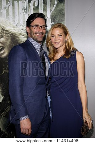 HOLLYWOOD, CALIFORNIA - March 23, 2011. Jon Hamm and Jennifer Westfeldt at the Los Angeles premiere of