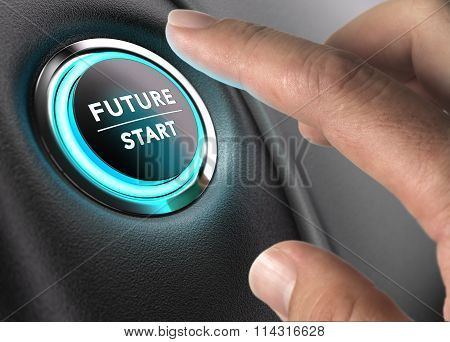 Finger about to press future button with blue light over black and grey background. Concept image for illustration of change or strategic vision. poster