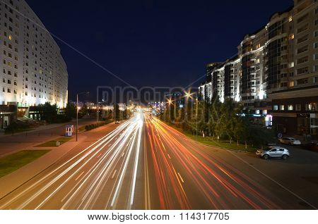 Night View Of The Street Orynbor Astana Kazakhstan