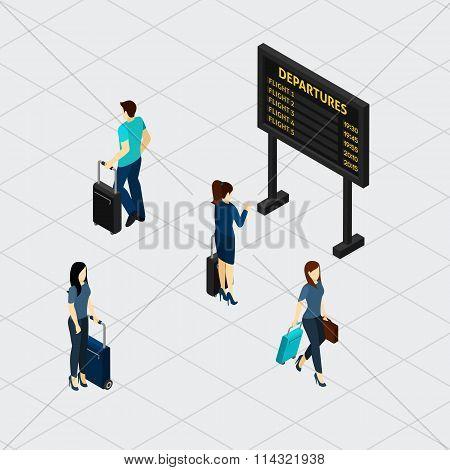 Airport Hall Passengers Isometric Banner