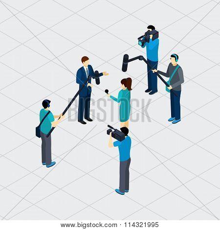 Journalist Profession Teamwork Isometric Banner