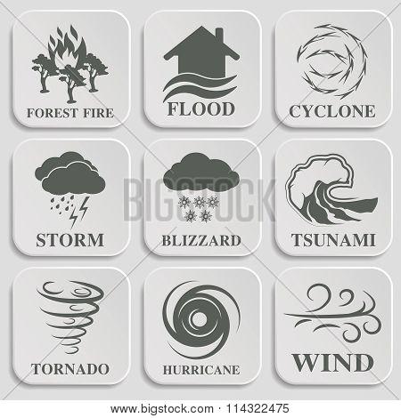 Natural disaster icons set