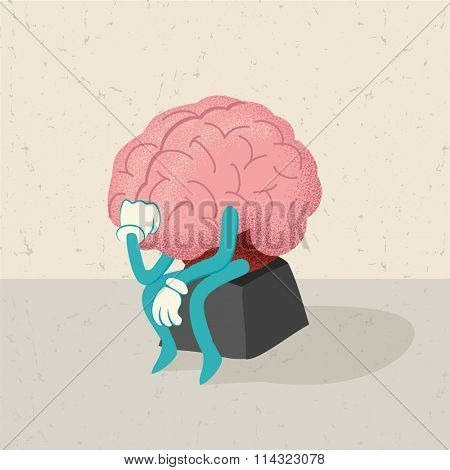 retro cartoon of a thinking brain character