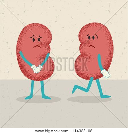 retro cartoon of 2 kidneys. concept of losing one kidney