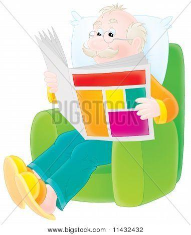 Grandfather reads a newspaper