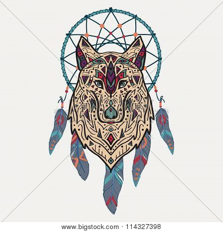 Vector Colorful Illustration Of Tribal Style Wolf With Ethnic Ornaments And Dream Catcher.