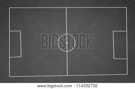 football field drawn with chalk on blackboard