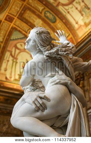 ROME ITALY - JUNE 14 2015: baroque marble sculptural group by Italian artist Gian Lorenzo Bernini Rape of Proserpine in Galleria Borghese Rome Italy