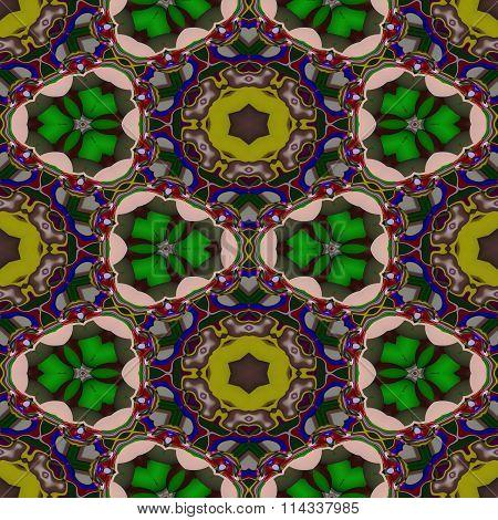 Abstract green tileable seamless regular ornamental fractal pattern