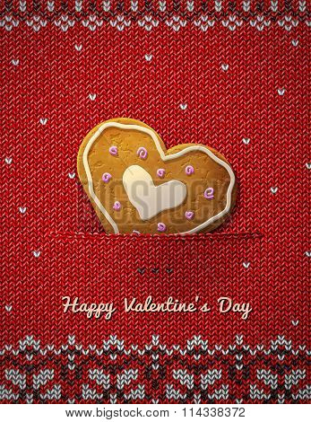 Heart Cookie On Knitted Background