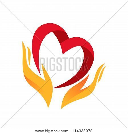 Heart in hand symbol, sign, icon, logo template for charity, health, voluntary, non profit organizat