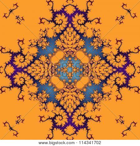 Abstract decorative ornamental orange purple blue seamless pattern in art nouveau style