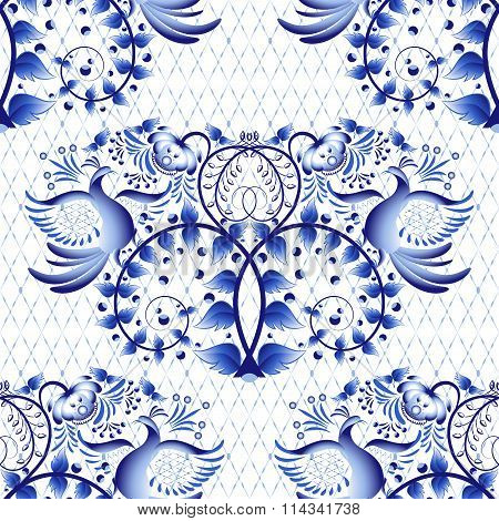 Seamless Pattern Imitation Of Painting On Porcelain In The Russian Style Gzhel Or Chinese Painting.