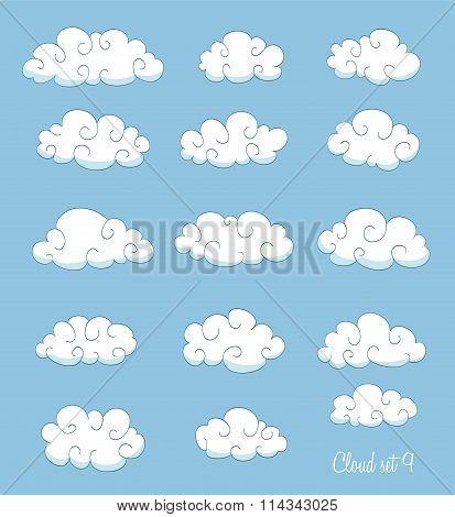 Set Of Cute Cartoon Clouds