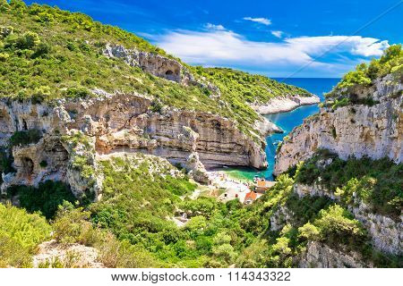 Scenic Beach Of Croatia On Vis Island