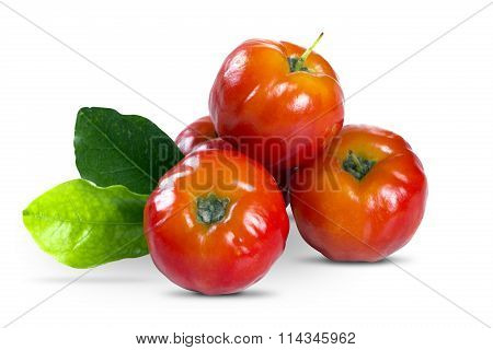Acerola Fruit In White Background