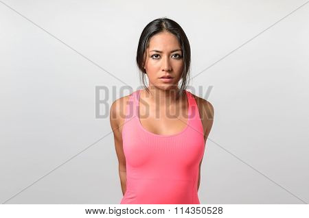 Serious Attractive Young Brunette Woman