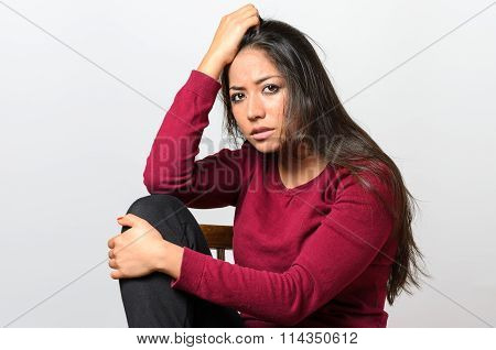 Depressed Worried Young Woman