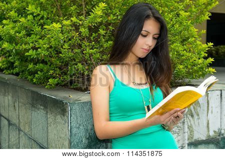 Pretty brunette model wearing turquoise singlet standing by concrete wall reading a book, green vege