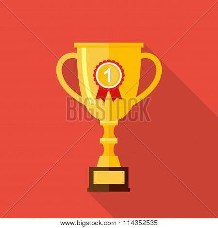Vector Flat Trophy Cup With Long Shadow