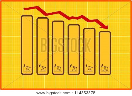 Oil Price Fall Graph Illustration. Pump In Bar Fields