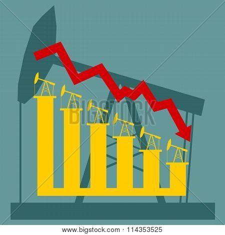 Oil Price Fall Graph Illustration. Pump On Chart Bars