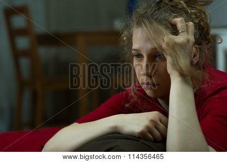 Depressed Lone Woman