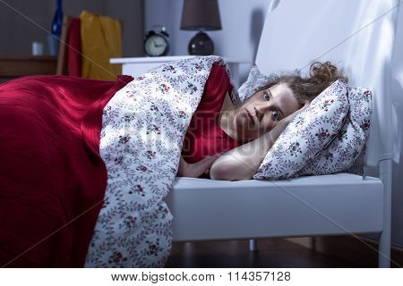 Young Female Unable To Sleep