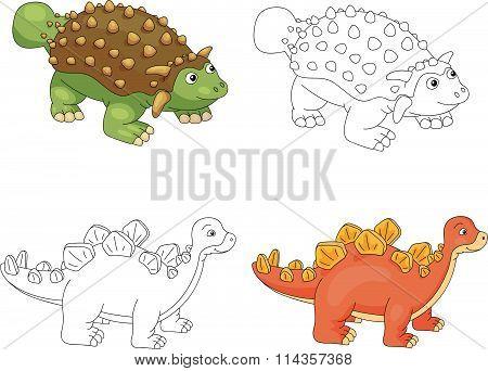 Funny Cute Ankylosaurus And Stegosaurus. Educational Game For Kids. Coloring Book
