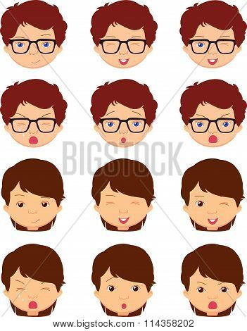 Brunet Girl And Spectacled Boy Emotions: Joy, Surprise, Fear, Sadness, Sorrow, Crying, Laughing, Cun