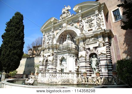 Fontana Dell'organo, Villa D`este Fountain And Garden In Tivoli Near Roma, Italy